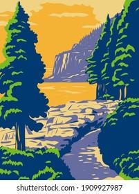 Acadia National Park in Mount Desert Island Maine United States WPA Poster Art
