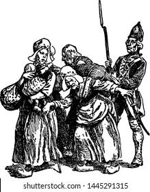 Acadian Peasants, vintage engraved illustration.