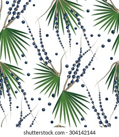 Acai Berries and Branches Seamless Vector Pattern