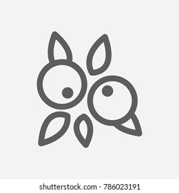 Acai berries icon line symbol. Isolated vector illustration of blueberry sign concept for your web site mobile app logo UI design.