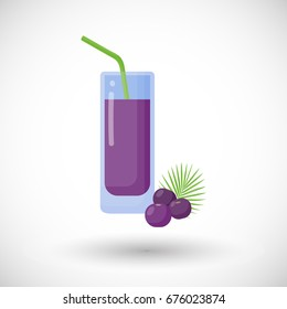 Acai berries juice vector flat icon, Flat design of superfood or healthy eating object with round shadow isolated on the white background, cute vector illustration with reflections