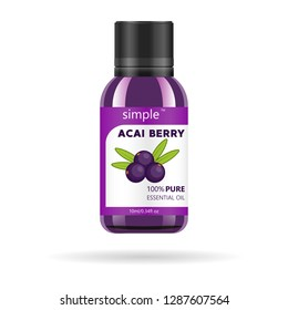 Acai berries oil in glass jar. Vector packaging design template and emblem - beauty and cosmetic oil - acai berry. Mock up vial of acai oil essence.