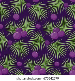 Acai berries vector seamless pattern, Flat design of superfood or healthy eating wallpaper isolated on the dark background, cute vector illustration with reflections