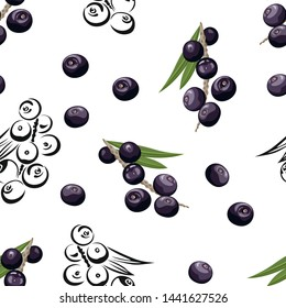 Acai seamless pattern. Dark berries with green leaves on white background. Vector color illustration in cartoon flat style and black and white outline.