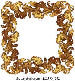 Acanthus plant leaves arranged in intricate square frame. Popular decorative motif in antiquity and baroque art. Tattoo design. Luxury golden linear drawing on white background. EPS10 vector