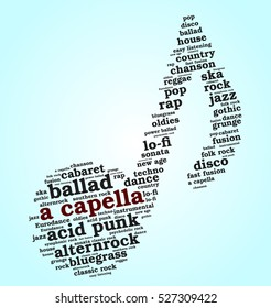 Acapella. Word cloud, musical notes, gradient blue background. Variety of music.