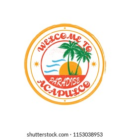 Acapulco Rubber Stamp - Sticker - Ready for Print - Decal