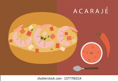 Acaraje traditional brazilian street food vector. Typical fried snack from Bahia Illustration
