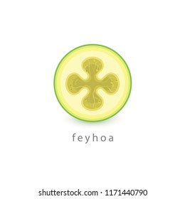Acca sellowiana, Feyhoa simple icon. Vegan logo template. Minimalism style vector illustration on white background.