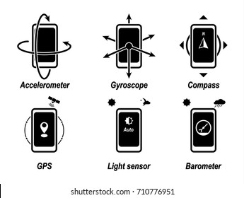 Accelerometer, gyroscope, compass, GPS, light sensor, barometer. Important phone functions. Black vector icon.