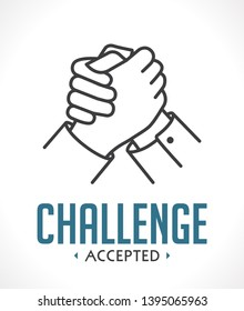 Accept the challenge icon - two embrace hands - bussines concept