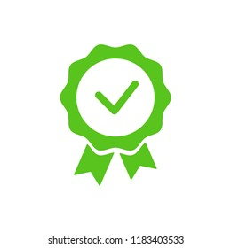Accept check mark. Approve green label. Isolated on white. Vector illustration