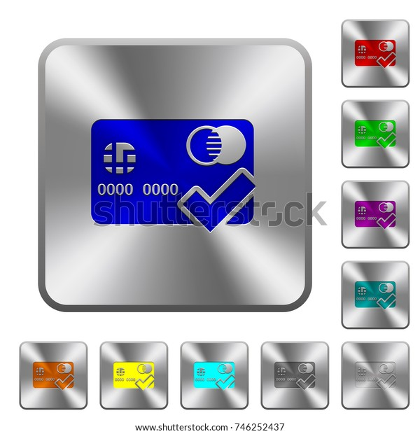 Accept credit card engraved icons on rounded square glossy steel buttons