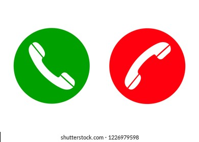 Accept & Decline call phone icon. Answer and decline phone call buttons, green and red – stock vector