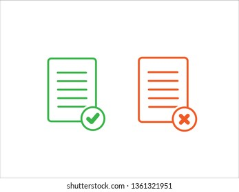 accept file and Reject file icon. Task completed vector icon vector isolated on white background.