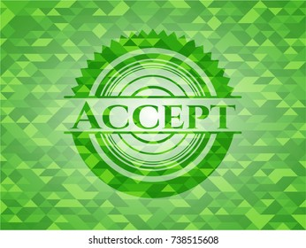 Accept realistic green mosaic emblem
