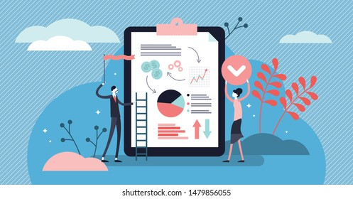 Accept vector illustration. Flat tiny positive check rate persons concept. Abstract approved document with validation control and authorized test. Correct quality agreement with ok gesture and banner.