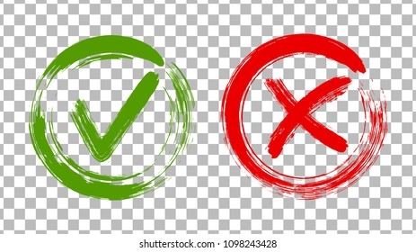 Acceptance and rejection symbol vector buttons for vote, election choice. Circle brush stroke borders. Symbolic OK and X icon isolated on transparent background.Tick and cross signs, checkmarks design