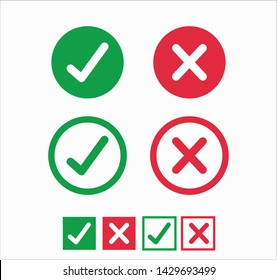 Accepted/Rejected, Approved/Disapproved, Yes/No, Right/Wrong, Green/Red, Correct/False, Ok/Not Ok - vector mark symbols in green and red.