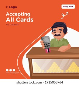Accepting all cards banner design. Confectioner holding swipe machine and card in hand. Vector graphic illustration.