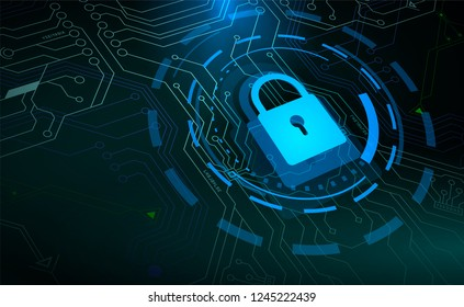 Access control, Blue padlock and HUD circle elements on microchip background. Side view. Cyber security and information concept. Vector illustration.