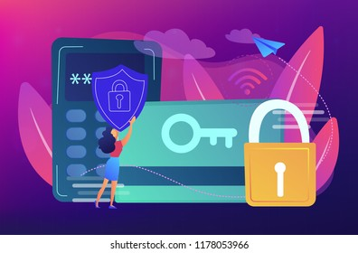 Access control card with key and lock and woman with protection shield. Electronic opening system, security system, automatic access card concept, violet palette. Vector isolated illustration.