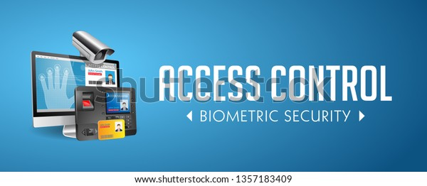 Access Control System Fingerprint Scanner Mifare Stock Vector