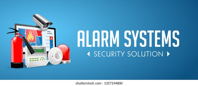 Access control system - Fire Alarm, Security system, Alarm zones, Security zones concept - website banner