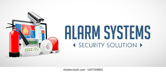Access control system - Fire Alarm, Security system, Alarm zones, Security zones concept - website banner