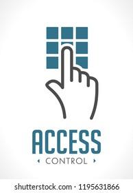 Access control technology logo - hand as  key concept - icon sign