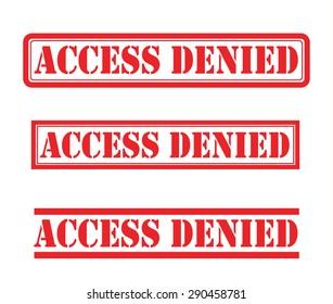 Access denied stamp vector set
