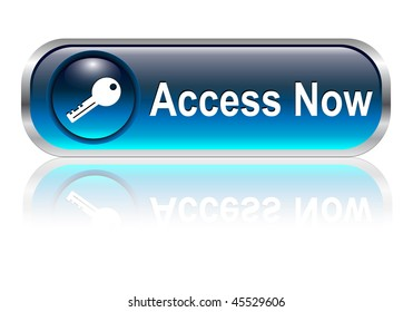 Access, enter icon, button, blue glossy with shadow, vector illustration