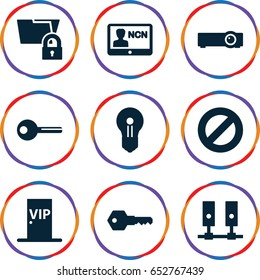 Access icons set. set of 9 access filled icons such as key, vip door, badge, router, keyhole, server, folder protection