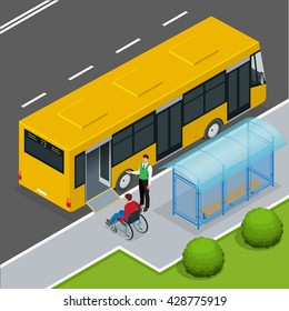 Access ramp for disabled persons and babies in a bus.  Driver helping Man enter into the transport via wheelchair ramp. Flat 3d vector isometric illustration.