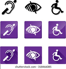 Accessibility Icons. Set of vector graphic glossy and flat icons representing the universal symbols for the Deaf, Blind and Disabled.