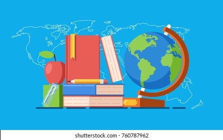 Accessible education for all vector concept, stack of book on world map background, online education courses and training, schoolchild breakfast, apple juice flat vector illustration