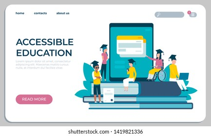 Accessible education website. Online learning for disabled people concept. Vector illustration virtual library archive student research