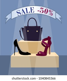 Accessoires shop sale vector illustration with heels,sandals and bag