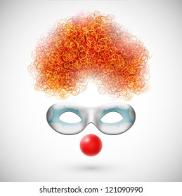 Accessories clown (wig, mask and red nose). Eps 10