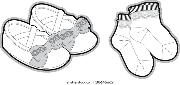 Newborn's accessories collection socks and shoes, bibs basic set of technical sketches for babies