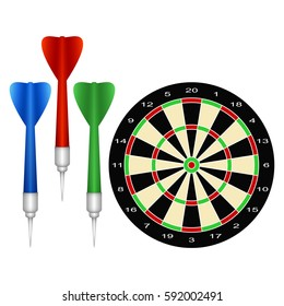 Accessories for the Game of Darts. Set on a White Background.
