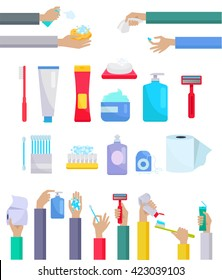Accessories and hygiene items. Human hands are holding a variety of accessories for the care toothpaste and toothbrush, toilet paper, razor, cream and ear sticks design flat. Vector illustration