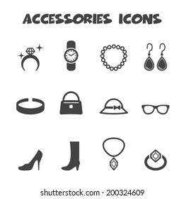 accessories icons, mono vector symbols