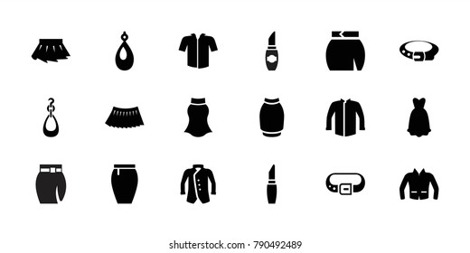 Accessories icons. set of 18 editable filled accessories icons: lipstick, belt, earring, jacket, skirt