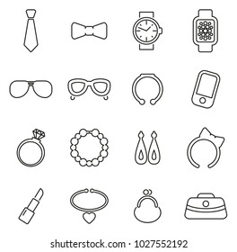Accessories Icons Thin Line Vector Illustration Set