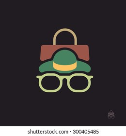Accessories icon.Vector flat illustration of glasses hat and handbag.