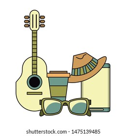 accessories for summer days symbols and coffee cup acoustic guitar sunglasses hat music player isolated Vector design illustration