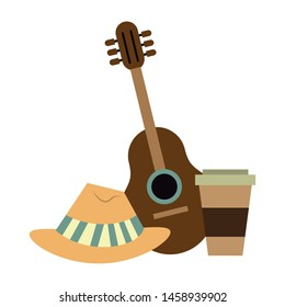 accessories for summer days symbols with hat coffee cup and acoustic guitar isolated Vector design illustration