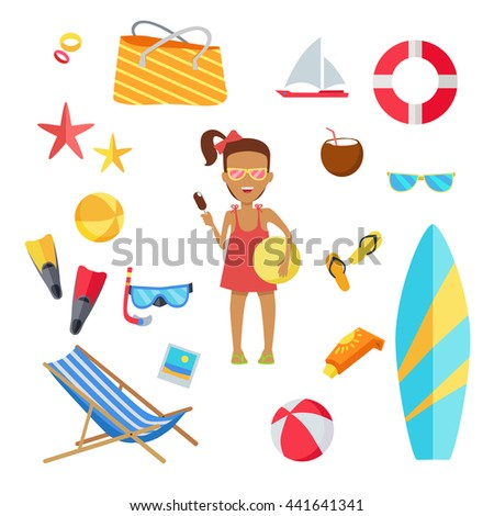 f27063856 Accessories Summer Holidays Design Flat Ball Stock Vector (Royalty ...