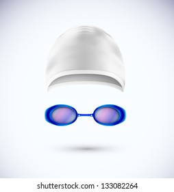 Accessories for swimming (cap and glasses). Eps 10
